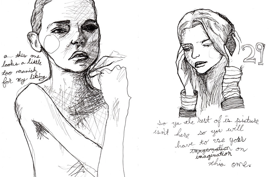 Pages 28 and 29 out of Danny roberts Character sketchbook