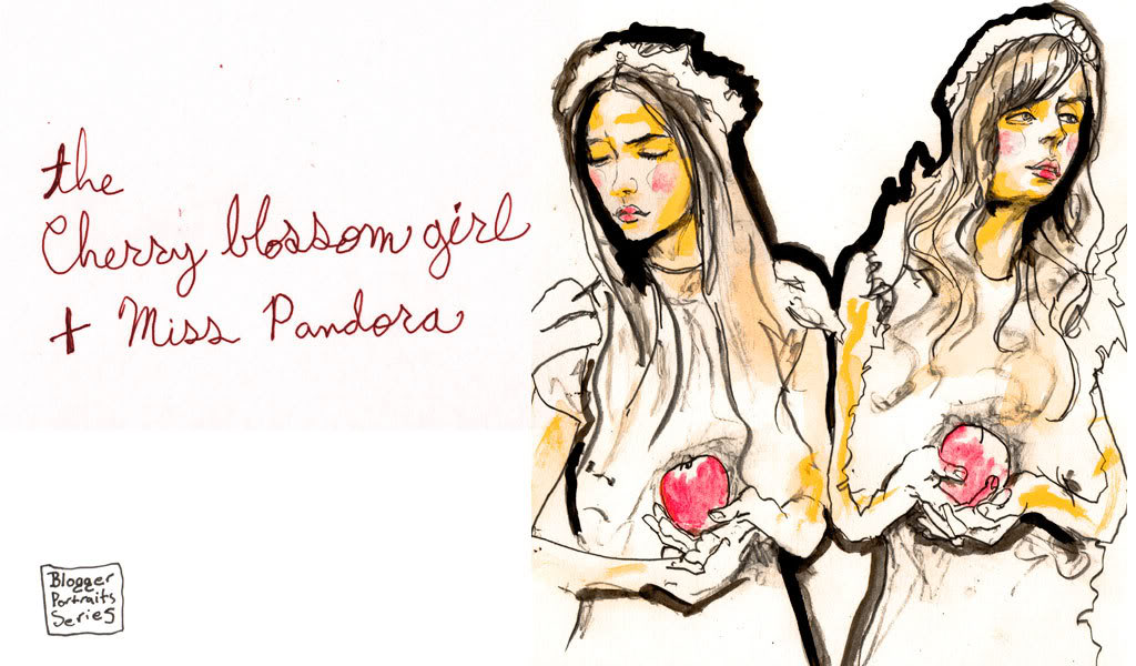 This Portrait is Part of Artist Danny Roberts Blogger Portrait Series. The French Bloggers Featured in this picture are Alix of Cherry Blossom Girl and Louise of Pandora.
