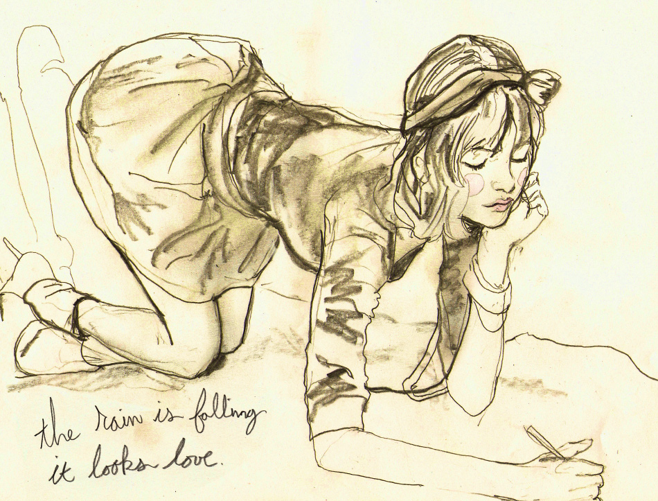 A light Sketch of a Girl kneeling doodling a sketch on the ground with the phrase The rain is falling it looks like love on it, drawing by Artist Danny Roberts