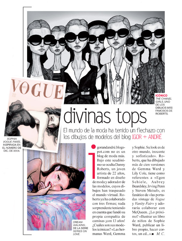 A Close up of Fashion Art, Danny Roberts, feature in Vogue Spain