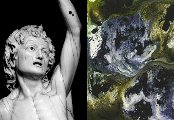 Inspiration friday photo of a statue and a swirly painting