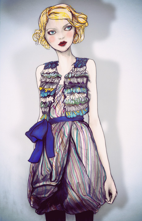 Fashion Artist Danny Roberts painting of Reem Acra Fall 2010 for Sundance Channel Full Fontal Fashion