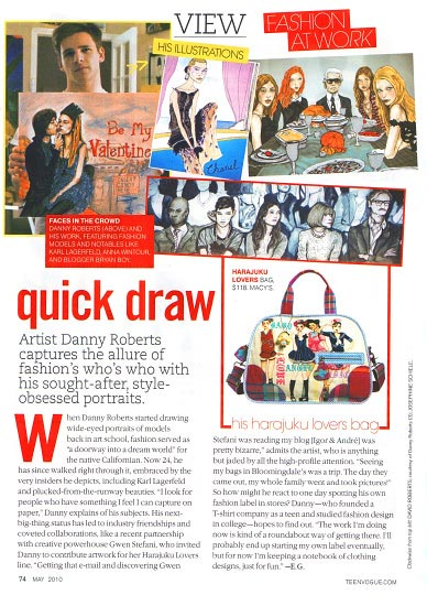Danny Roberts featured in may 2010 Teen Vogue Holding up his painting in his studio