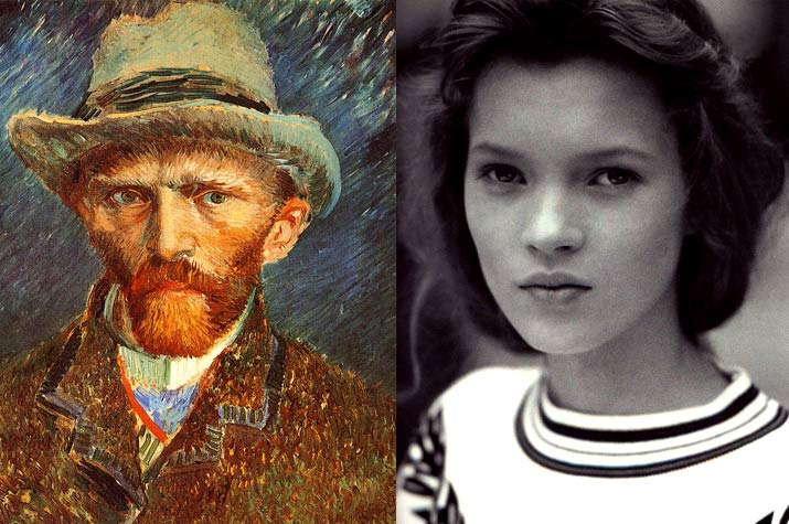 Vincent Van Gogh Self portrait chapeau and A black and white portrait of Kate Moss when she was 14 in her First Photo Shoot Ever