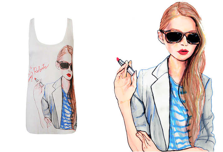 Igor and Andre Artist Danny Roberts painting and tank top for Forever 21 of swedish Style blogger Carolina Engman of FashionSquad.