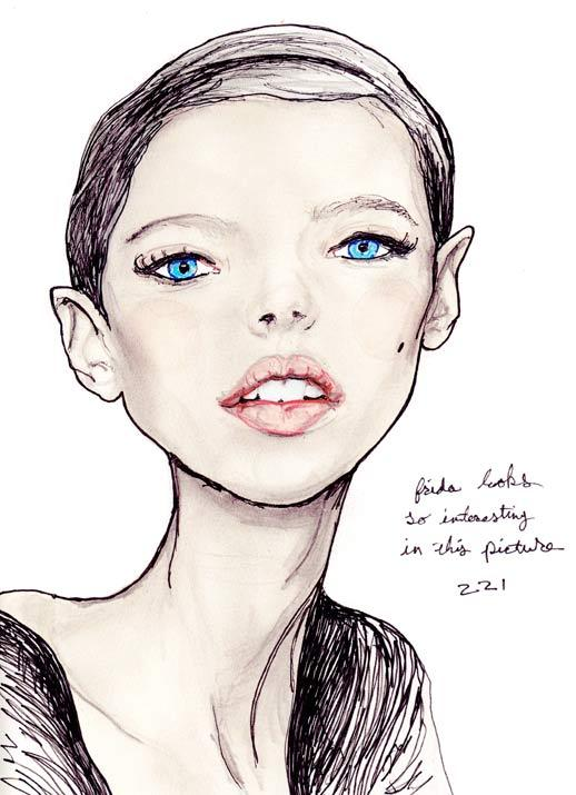 Fashion Artist Danny Roberts Portrait of IMG Swedish Model Frida Gustavsson in the Character Sketch Book