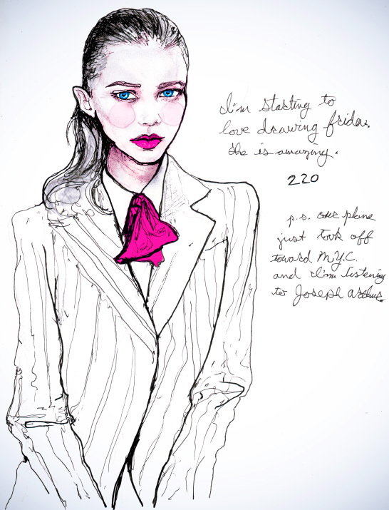 Fashion Art by Danny Roberts of Img Fashion Model Frida Gustavsson with red lips and in a suit