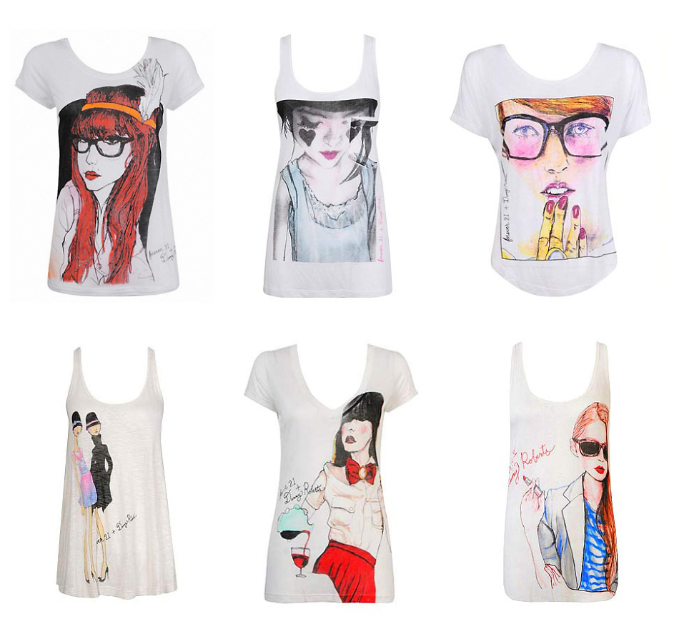 Danny Roberts Portrait of Swedish Style blogger carolina engman Fashion Squad on a Tanktop, two long necked models wearing matching black hats printed, Agathe Bjørnsdatter Molvik of styleBytes, Geri Hirsch of the la Blog Because i'm addicted on a tank top,  Louis Ebel of the Blog Miss Pandora on white t shirt for Forever21 Collaboration