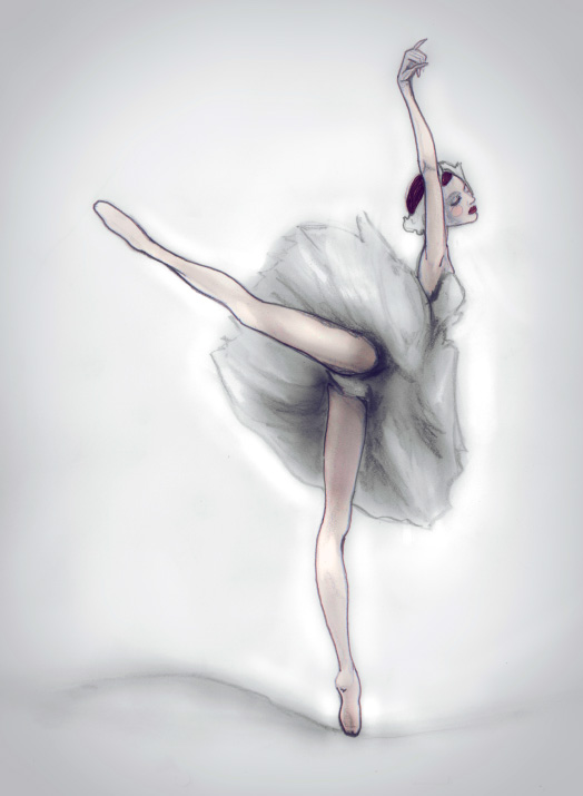 Fashion Artist Danny Roberts Sketch of a Ballerina based off of Ulyana Lopatkina from Swan Lake