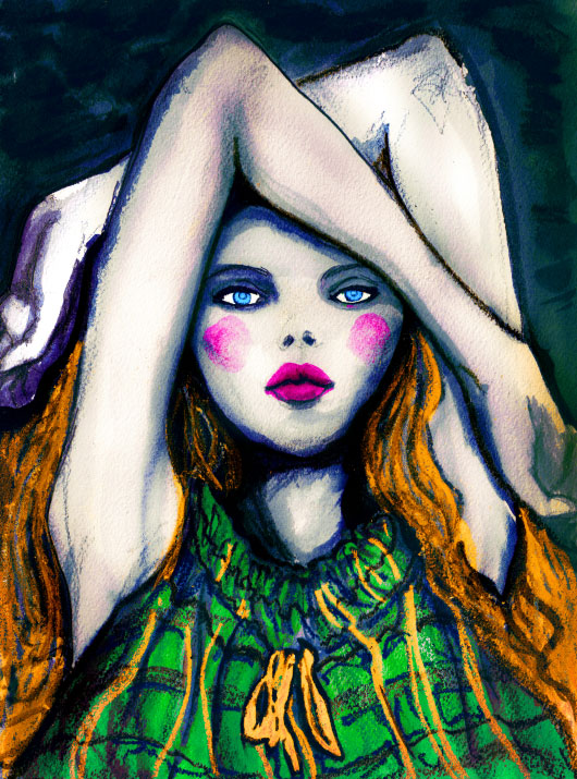 Igor and andre Fashion Artist Danny Roberts painting of a girl with blue eyes laying on her back with arms over her head