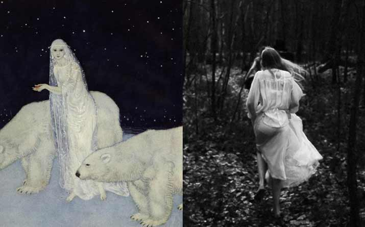 Artist Edmund Dulac Painting of Dreamer of Dreams  and a Black and white image of girl running Inspiration friday