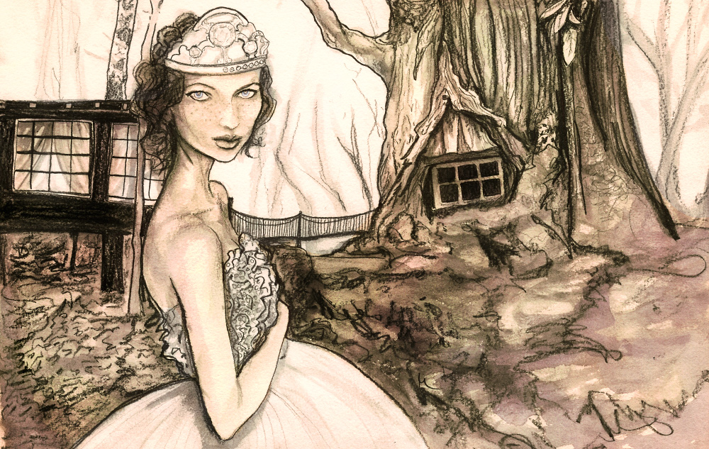 Artist Danny Roberts  waist up Study Sketched painting of A girl Josette wearing a strapless dress and a crown in the the Runaway Forest for Igor and andre storybook series