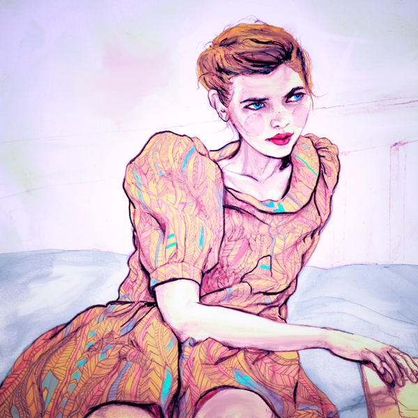 Danny Roberts Painting of Major Management Amanda Jules in Rachel Antonoff Spring 2011 Collection For Sundance Channel Full Frontal Fashion