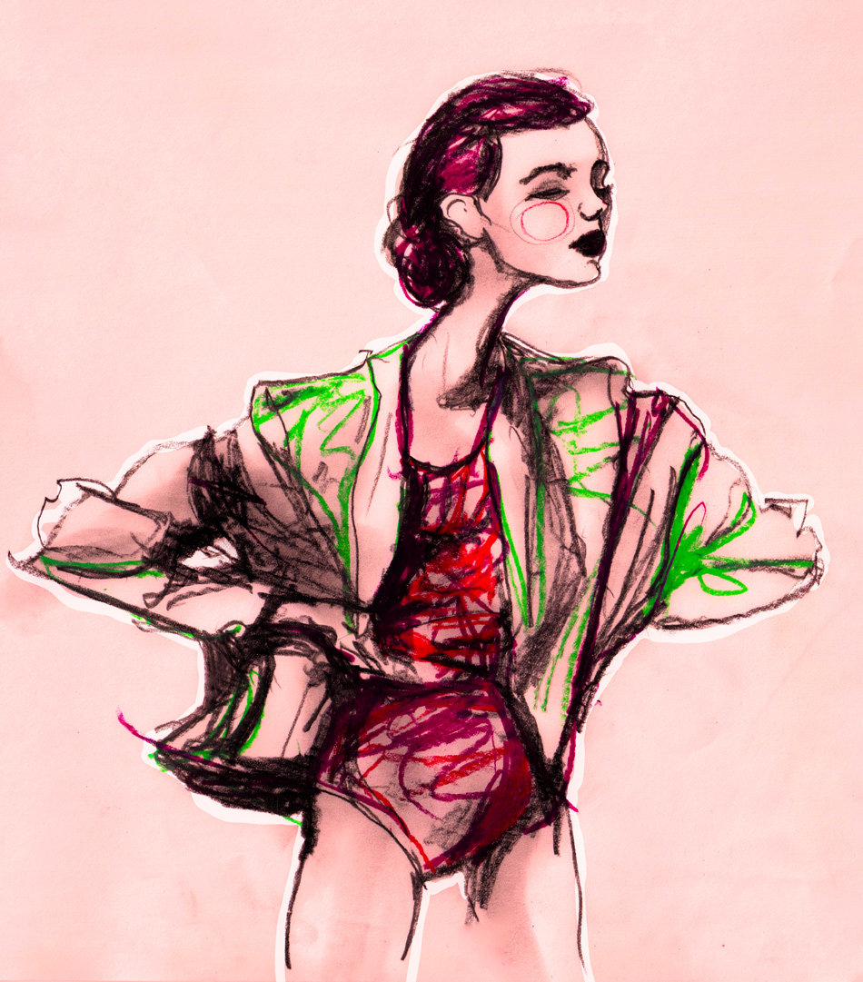Fashion Artist Danny Roberts Gesture Study sketch of Model Frida Gustavsson for Igor and andre