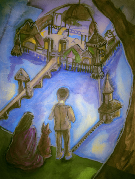 Danny Roberts igor and andre story development sketch painting of a boy and a girl and fox looking out at a dock city
