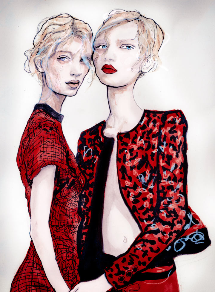 Artist Danny Roberts Reinterpretation of  Willy Vanderperre photo of Melissa Tammerijn & Julia Nobis Proenza Schouler Spring 2011