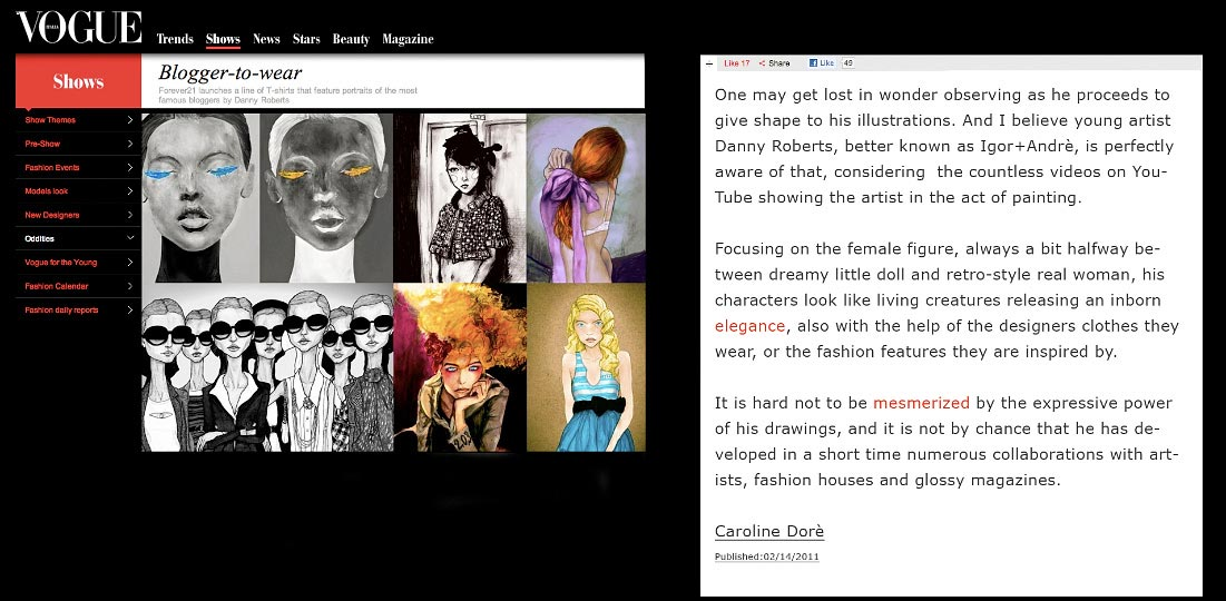 Artist Danny Roberts Featured On Italian Vogue Website as oh of Fashions Most Coveted Illustrators
