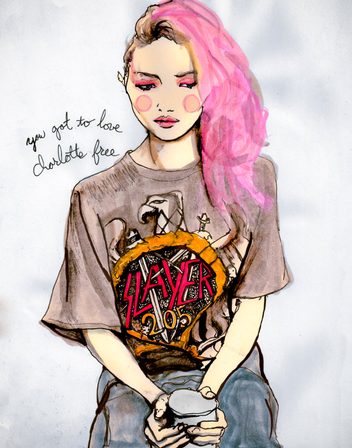 Fashion Artist Danny Roberts Sketch oh IMG Model Newcomer Charlotte Free in volume 3 of his character sketchbook drawing 205 based of igor and andre photo backstage at charlotte ronson fall 2011