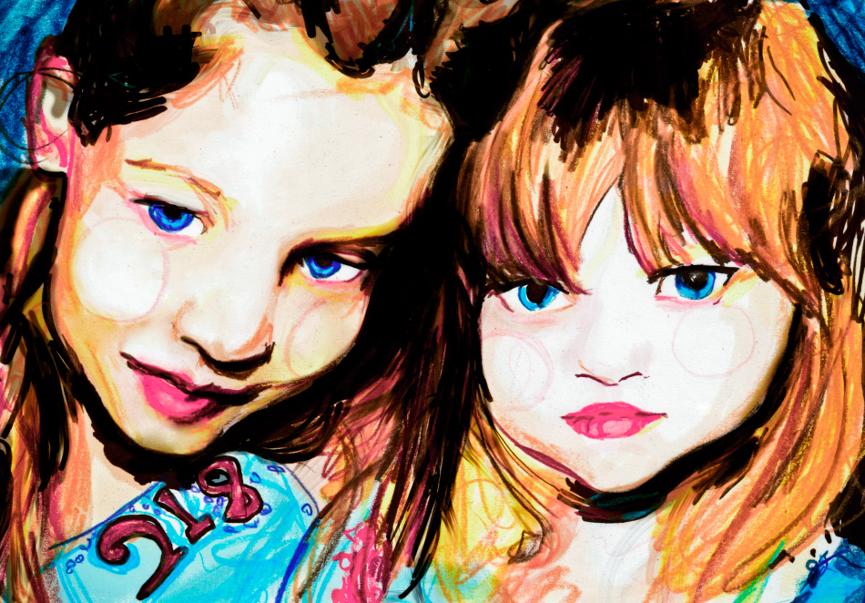 Artist Danny Roberts Drawing of Sophie Ward and Gemma Ward sisters as little kids age 5 and 7