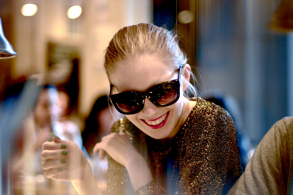 Artist Danny Roberts photo of Swedish Blogger Carolina Engman Fashionsquad at new york Fashion Week in coffee Shop
