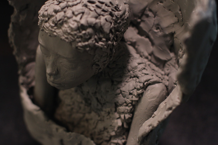 top view Photo angle of Artist Danny Roberts sculpture of Lee Alexander McQueen winter fall 2009