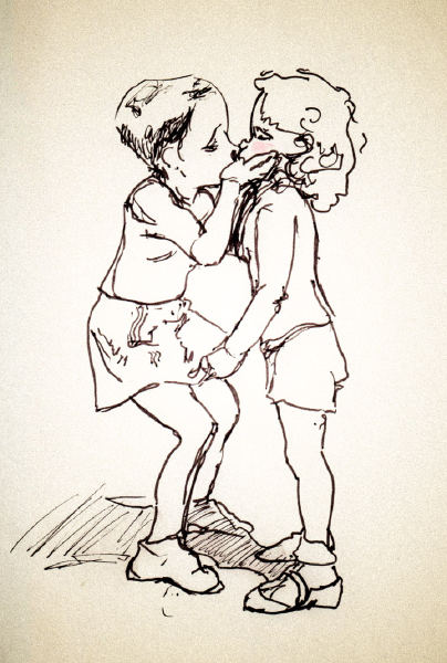 danny Roberts Art re-interpreted off of an old black and white photo of two little kids kissing