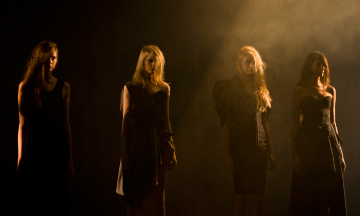 Four Models Standing in Misty Runway fog on the catwalk of A Degree Fahrenheit Spring 2012 Collection in Tokyo Fashion Week
