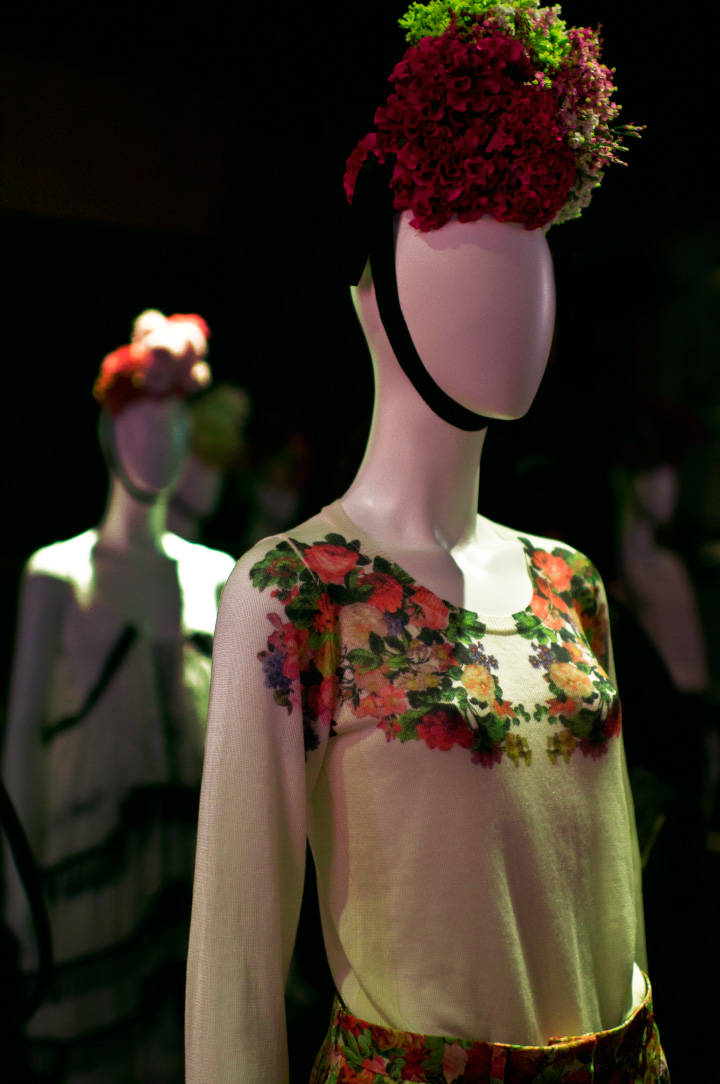 Photograph by Fashion Photographer Danny Roberts of a manikin wearing a floral print blouse and pants during the Ambell Spring 2012 Presentation during Tokyo Fashion Week