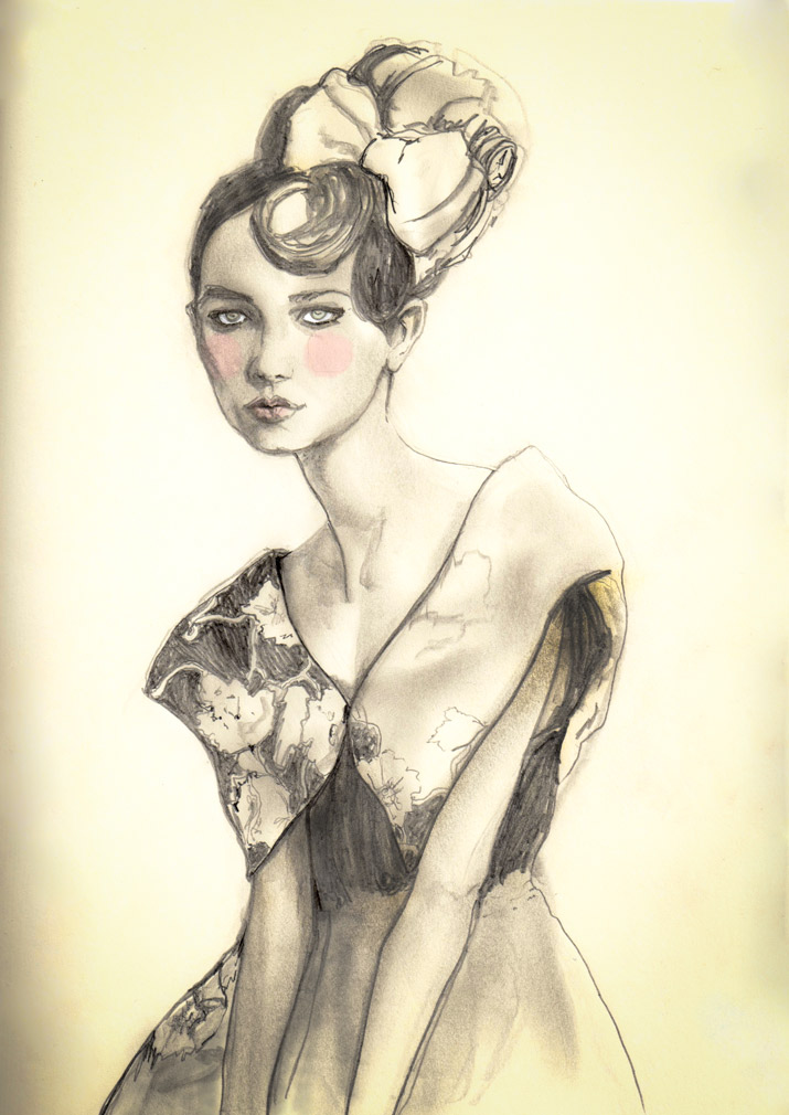 Artist Danny Roberts Studdy Sketch of a girl with a big Bow