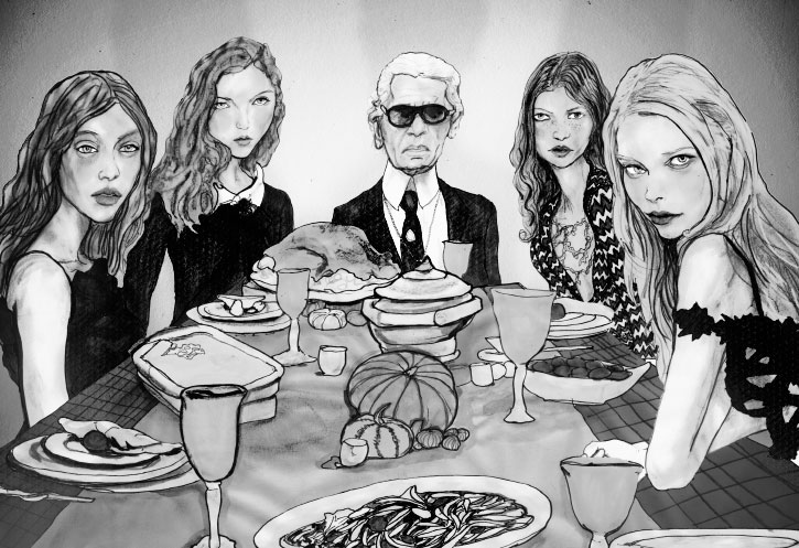 Artist Danny Roberts painting of Karl Lagerfeld, tanya dziahileva, Mona Johannesson, and Lily Cole, at a Thanksgiving dinner black and white version