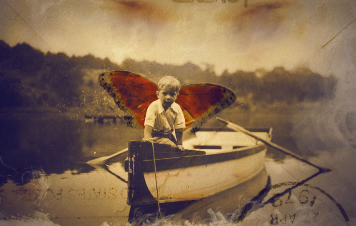 turn of the century collage image of a boy in a boat with butterfly wings whats contemporary issue