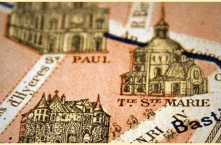 Inspiration friday picture of a Close up of an old 1937 pink and tan map of paris