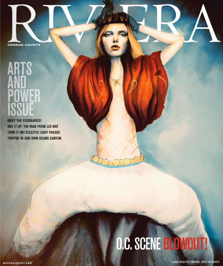 Artist Danny Roberts painting on the cover Modern Luxury orange county Riviera Magazine