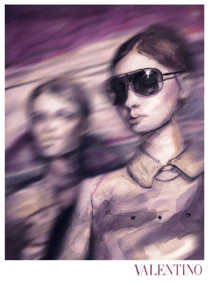 rtist Danny Roberts Reinterpretation painting of photographer David Sims picture of Caroline Brasch Nielsen and Monika Jac Jagaciak in Valentino F/W 11.12 ad campaign