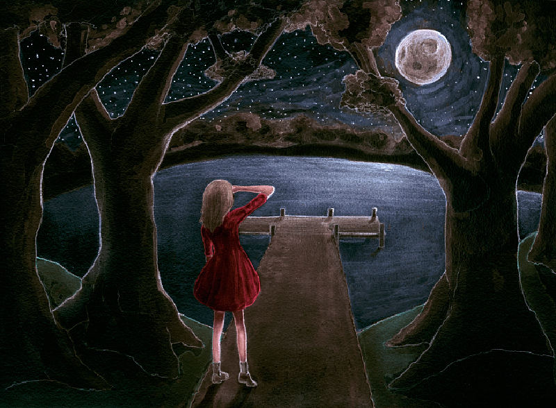 Fashion Artist Danny Roberts Painting of a girls back looking out a moonlit lake and a dock