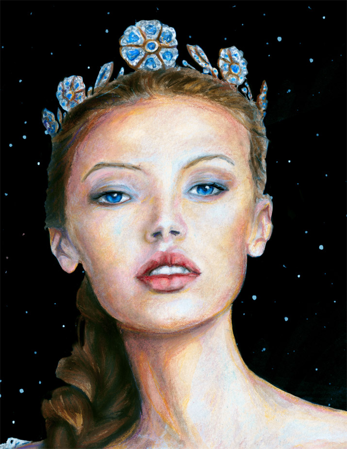Artist Danny Roberts painting of Img swedish model Mona Johannesson Dressed like princess Josette Face
