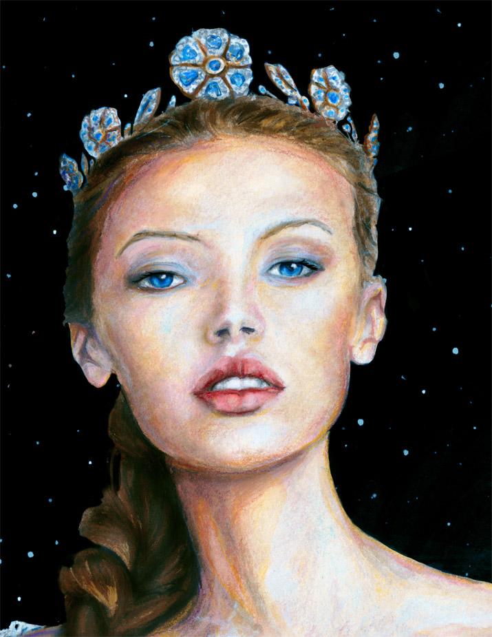 Artist Danny Roberts painting of Img swedish model Mona Johannesson Dressed like princess Josette Face
