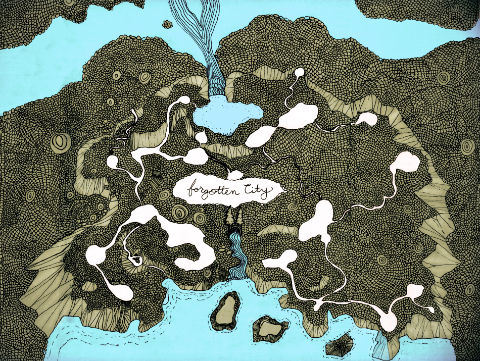 A Map drawing from Artist Danny Roberts and David Roberts Forgotten City Map