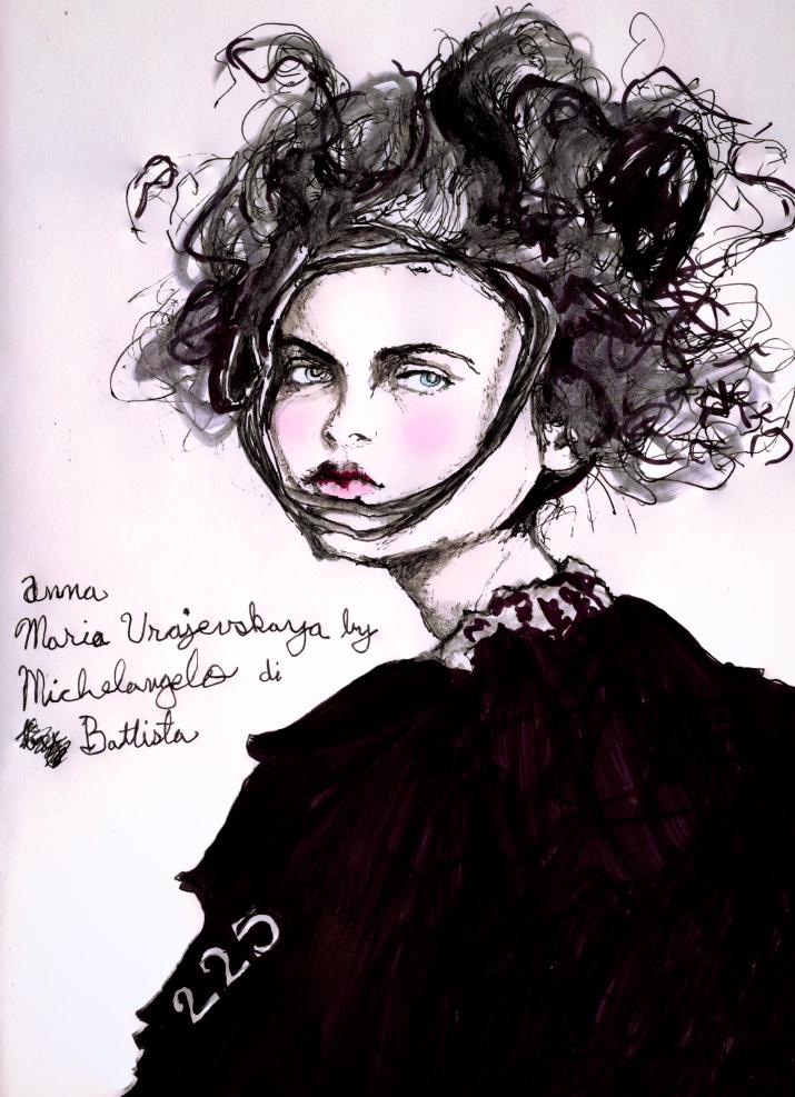 Artist Danny Roberts Character sketchbook drawing of  Anna Mariya Urazhevskaya