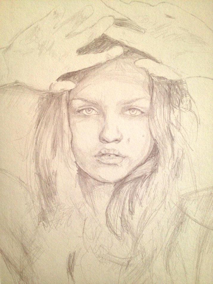 Artist danny roberts Concept sketch of a painting Rasa Zukauskaite