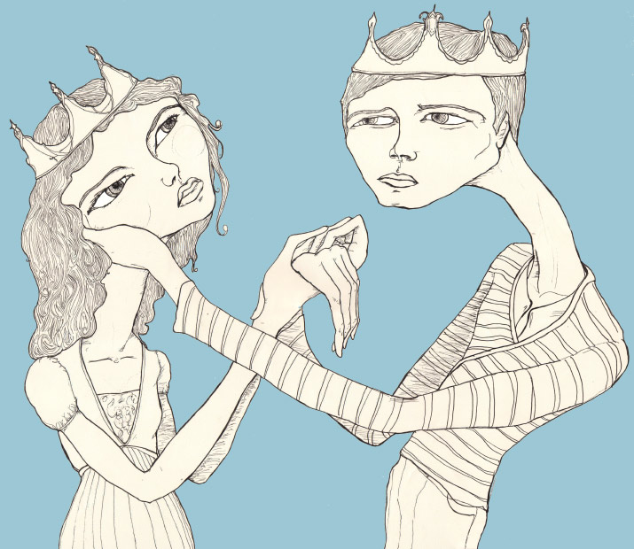 Artist Danny Roberts illustration of a couple in love with big head holding hands