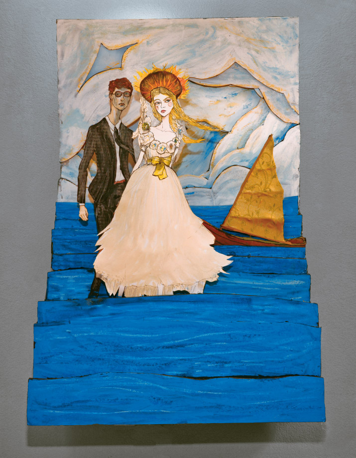 Artist danny roberts Lovers by the sea 3d build up inspired by Jessica stam marc jacobs