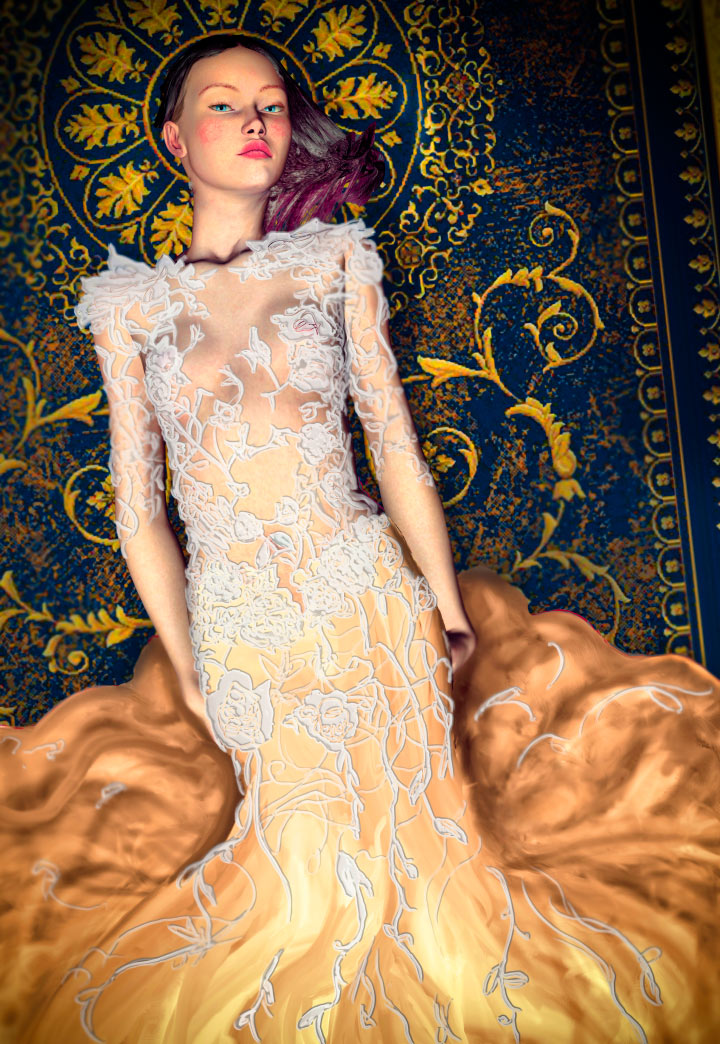 Fashion Artist Danny Roberts Experiment 3d photo and Digital Painting of Marchasea Fall 2011 Lace dress from New York Fashion Week