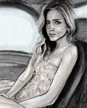 Blogger Portrait of Italian Fashion Blogger Chiara Ferragni by Fashion Artist Danny Roberts