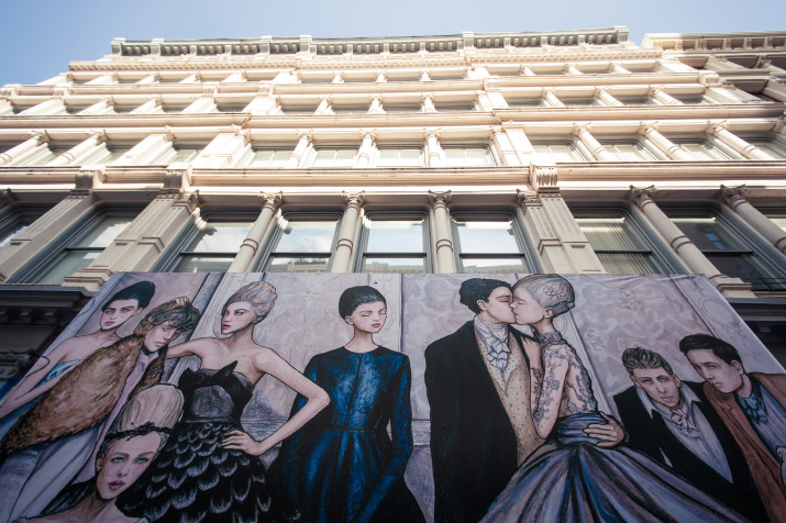 Photographer Nick Bowser photo of Fashion Artist Danny Roberts Mural at the new Tiffany and company store on 97 greene st soho new york