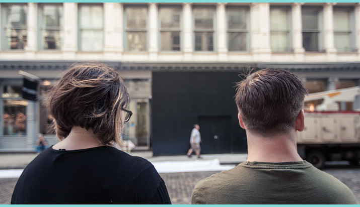 Photographer Nick Bowser photo of Fashion Artist Danny Roberts standing Next to his Sister Mandi Roberts in front of new Tiffany and company store on 97 greene st soho new york construction hoarding