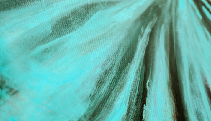 Photographer Nick Bowser photo of up close picture of the paint strokes Fashion Artist Danny Roberts mural Tiffanys store mural in soho new york of the tiffany blue dress