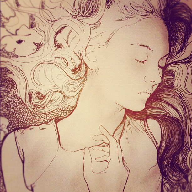 Artist Danny roberts working drawings of Fashion Model Codie Young