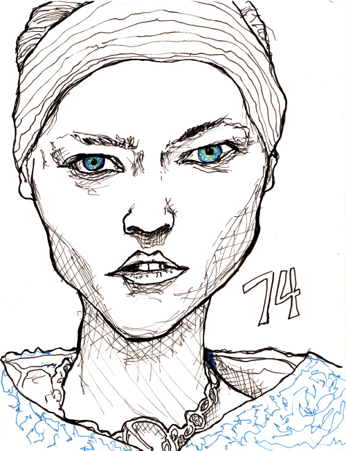 Excerpt from Danny Roberts' character sketchbook, and this illustration is a drawing he did of Sasha Pivovarova