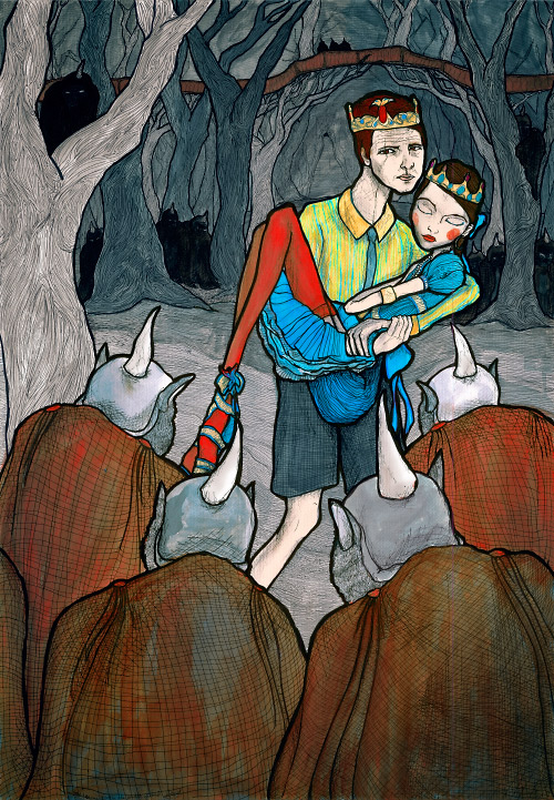 Danny Roberts carrying his Love Josette past creatures in the underground forest